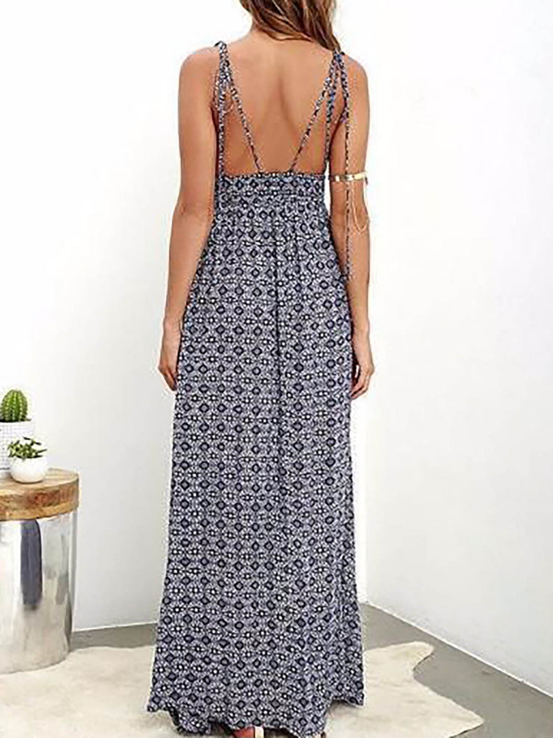 Blue Sheath Sleeveless Vacation Dress