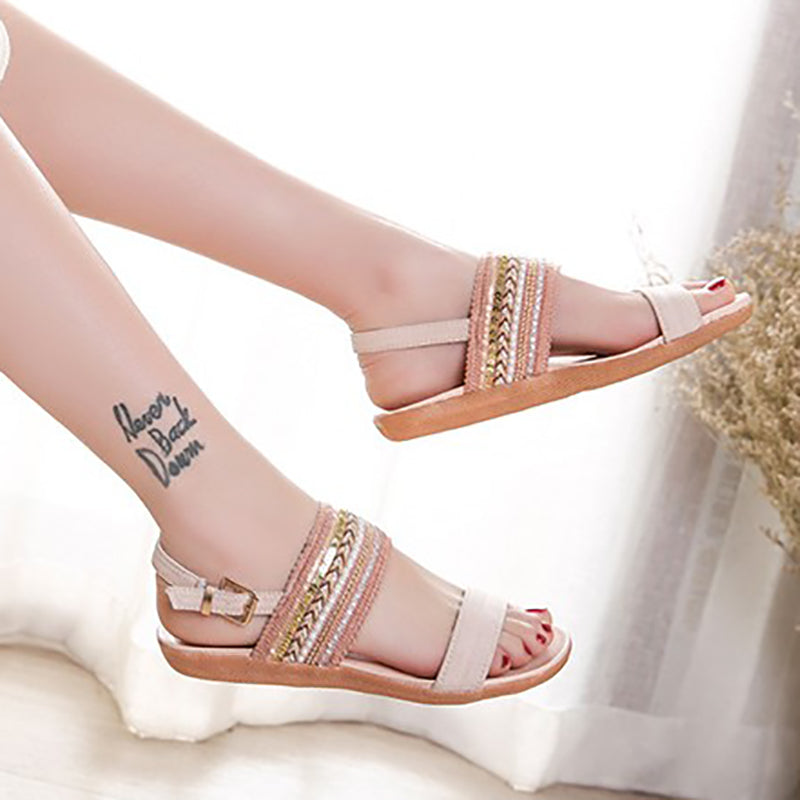 Adjustable Buckle Fabric Daily Sandals