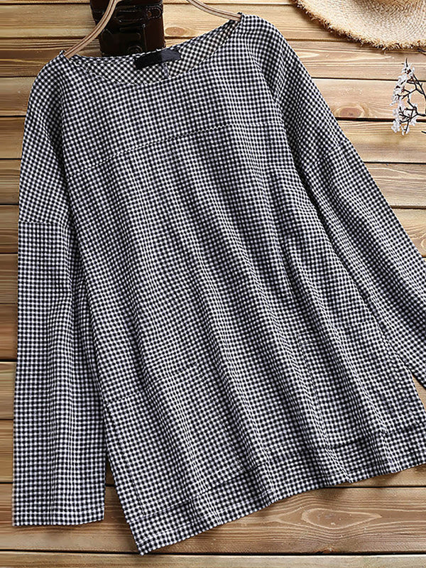 Women Checkered Long Sleeve Crew Neck Top