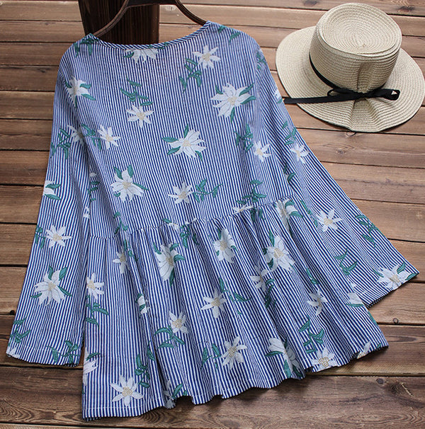 Women Cotton Floral Print Stripe O-neck Blouse