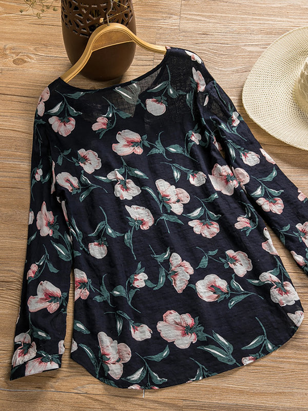 Women Floral Casual Tunic Tops Loog Sleeve Loose T Shirt Blouse