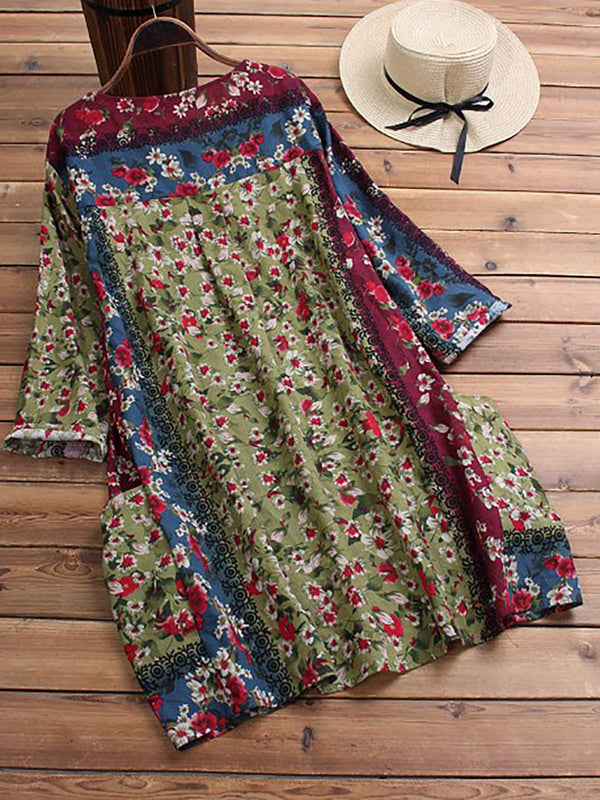 Floral-Print Cotton Casual 3/4 Sleeve Midi Dresses