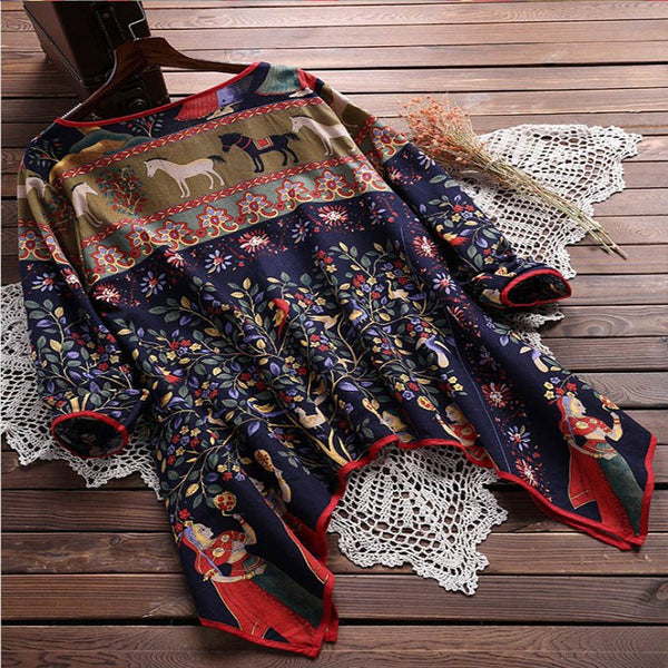 Women Vintage Printed Irregular Hem Loose Shirts
