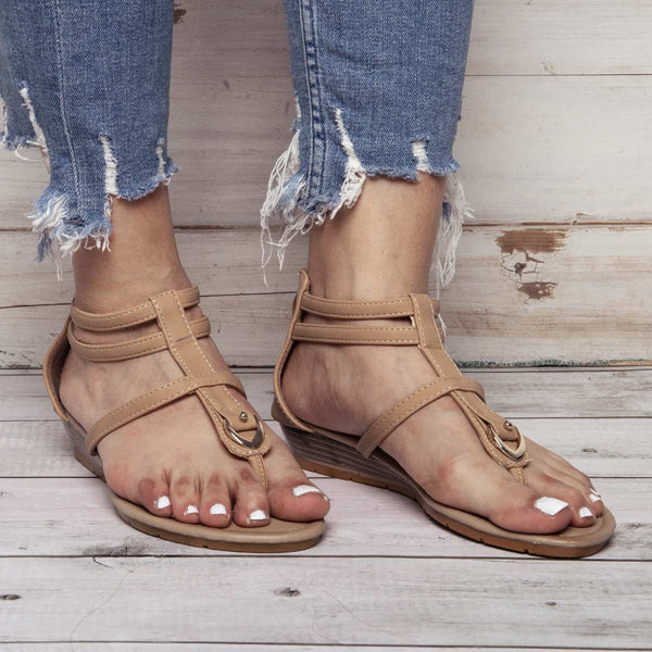 Soft Faux Leather Summer Sandals