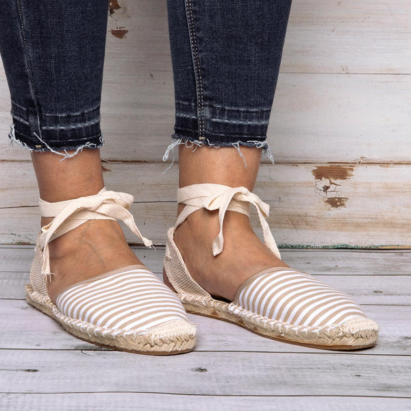 Holiday Lace-up Flat Heel Canvas Sandals