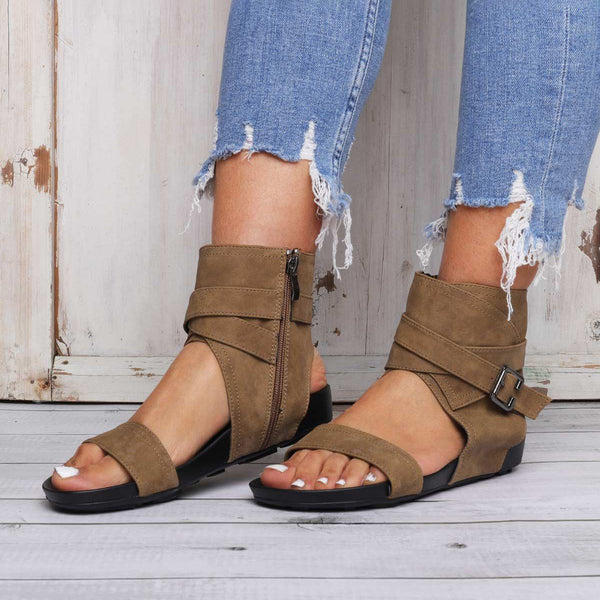 Flat Heel Pu Buckle Sandals Comfy Sole Beach Sandals