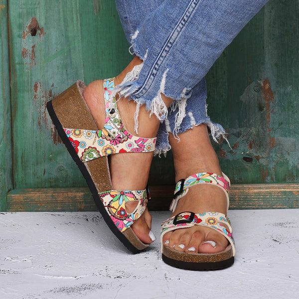 Holiday Beach Sandals Pu Buckle Wedge Heel Sandals