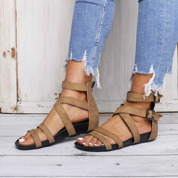 Comfy Sole Buckle Sandals Flat Heel Zipper Sandals