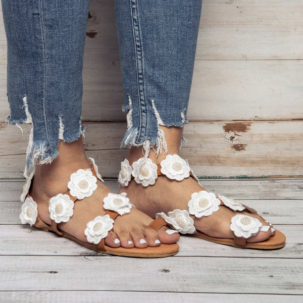 Womens Beach White Summer Pu Flower Sandals