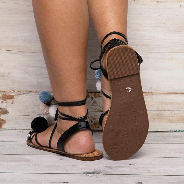 Womens Pompom Summer Daily Lace Up Flat Heel Sandals