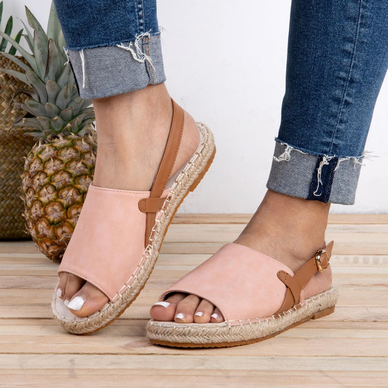 Espadrille Peep Toe Sandals Summer Pu Buckle Strap Sandals