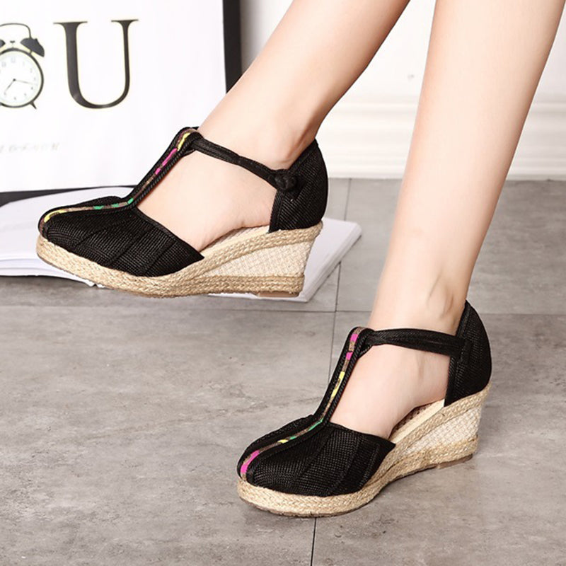 Button Daily Fabric Wedge Heel Sandals
