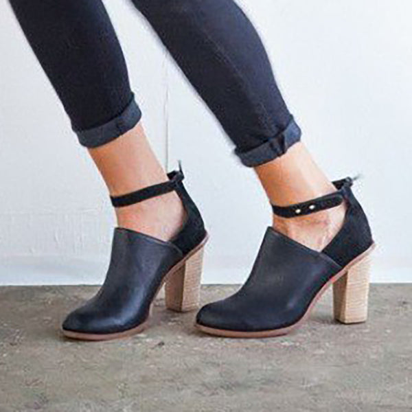 Womens Black Heeled Boots Retro Ankle Strap Chunky Heel Ankle Boots