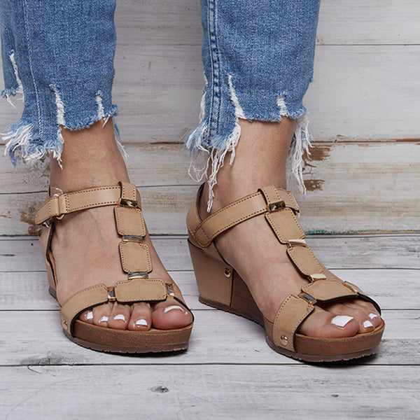 Daily Summer Magic Tape PU Wedge Heel Sandals