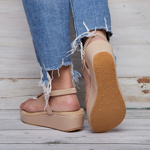 Women Comfortable Flip Flop Elastic Band Creepers Sandals