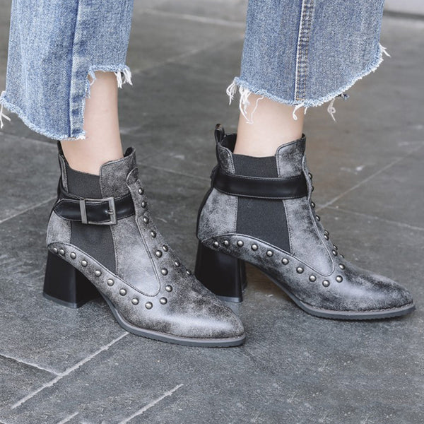 Buckle Spring/fall Chunky Heel Jf-Shoes