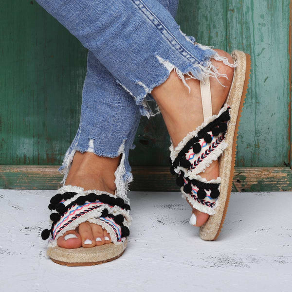 National Style Espadrilles Sandals Flat Heel Buckle Sandals