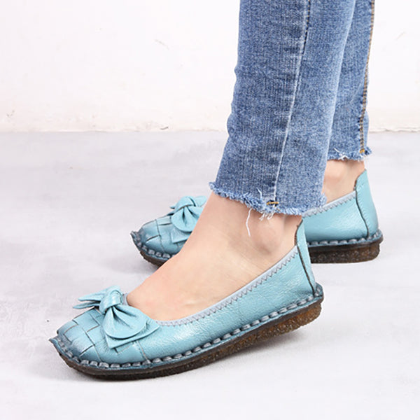 Women Leather Daily Flat Flower  Round Toe Flat