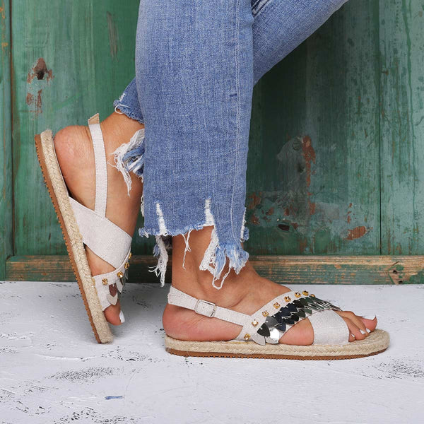 Espadrilles Beach Sandals Buckle Linen Cloth Flat Heel Sandals