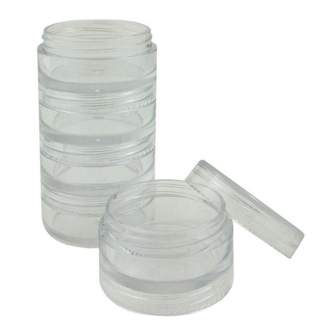Clear Plastic Stackable Jar 5/set - 3mL