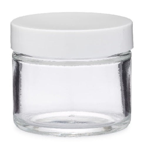Clear Glass Jar with White Lid Container