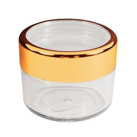 Empty Plastic Jar with Gold Rim Container