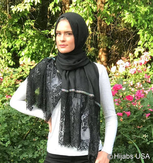 Diamond Trim Shawl Black