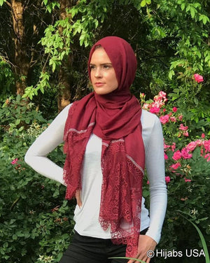 Diamond Trim Shawl Burgundy
