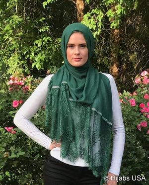 Diamond Trim Shawl Green