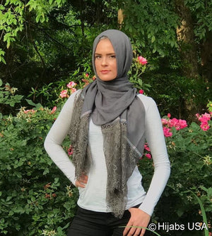 Diamond Trim Shawl Gray