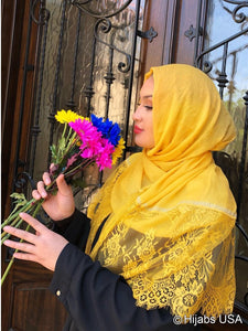 Diamond Trim Shawl Yellow
