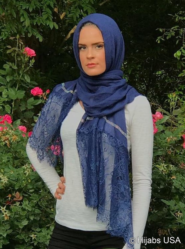 Diamond Trim Shawl Royal Blue