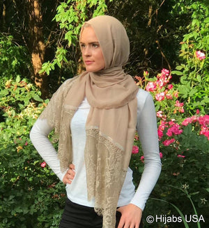 Diamond Trim Shawl Tan