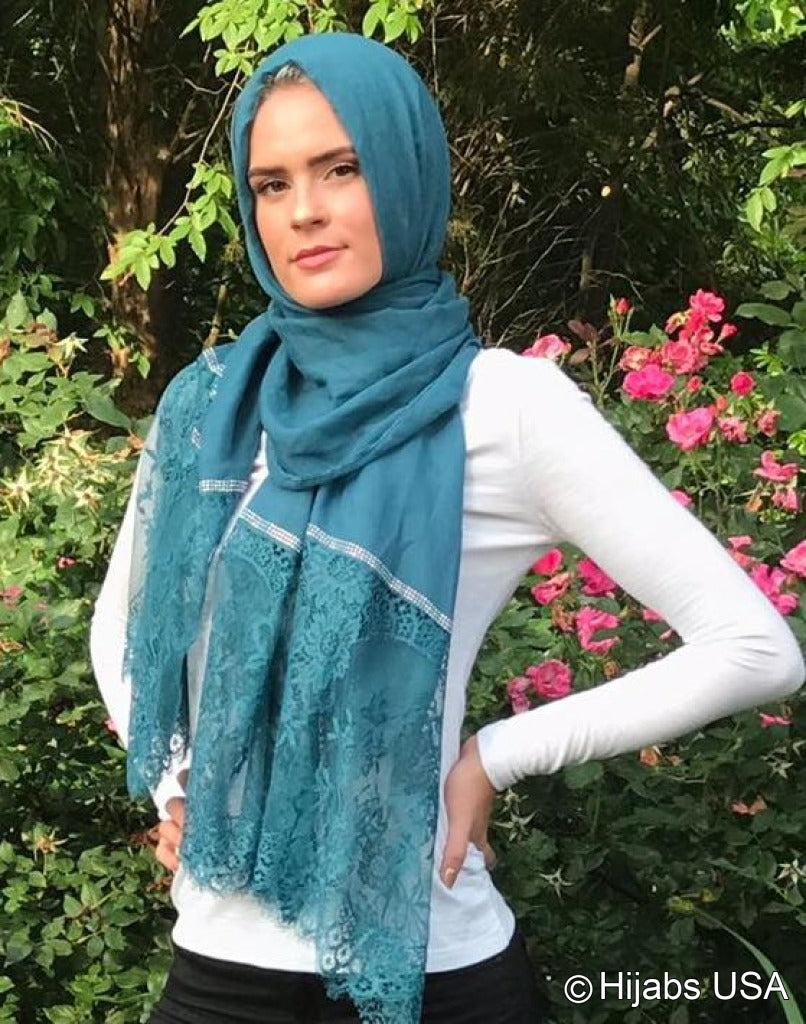 Diamond Trim Shawl Teal