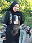 Fatin Black/Cream Abaya
