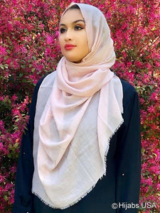 Premium Cotton Golden Waves Shawl Pink