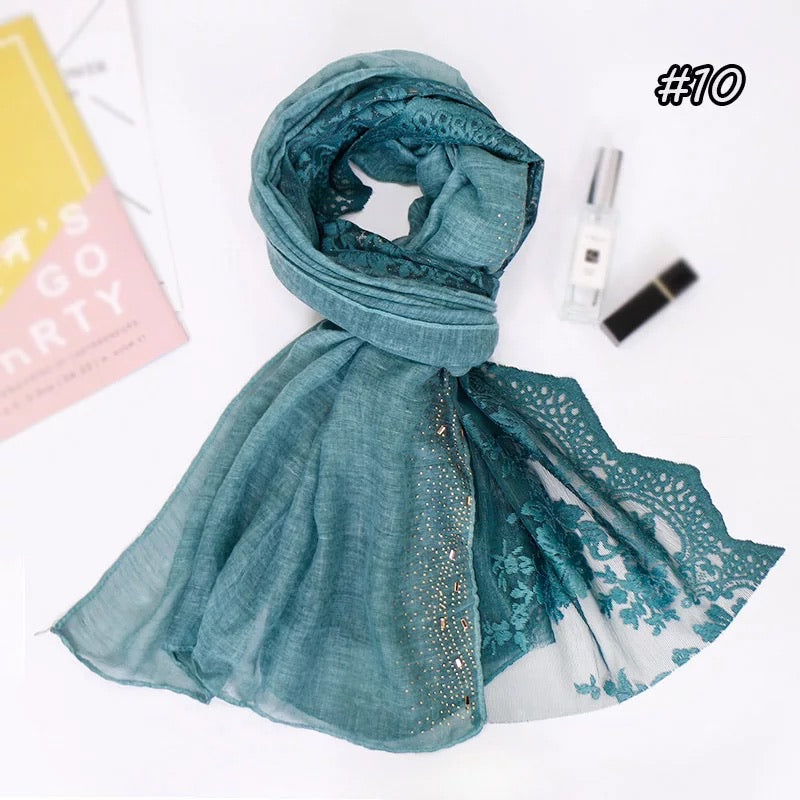Fancy Solid/Floral edged shawl