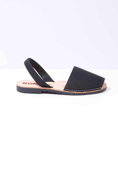 Black Leather Menorcan Sandals for Women, made in Spain by Solillas Australia, side view