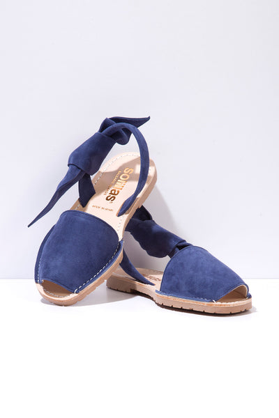 Isabel Indigo - Blue Suede with Bow