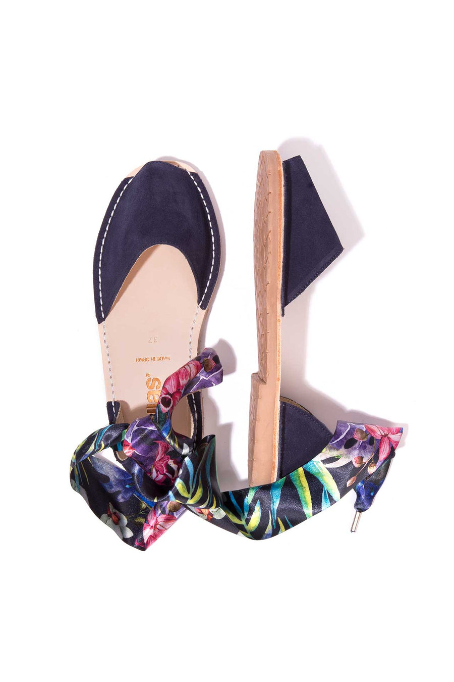 Ibiza Curva - Tropical Print Ankle Wrap sandals