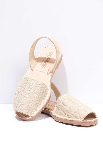Elvira - Woven Cream Suede Menorcan Sandals