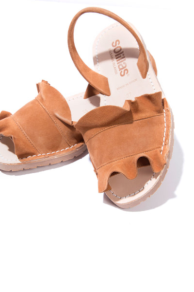 Talaia Tan - Frilled Suede Menorcan sandals