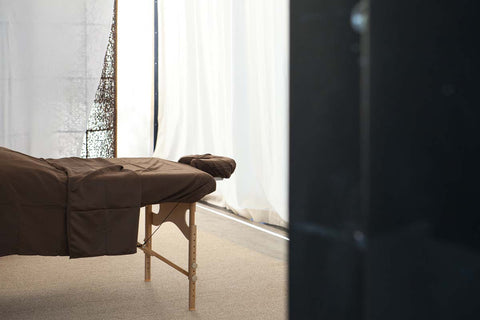 Massage table in a serene room