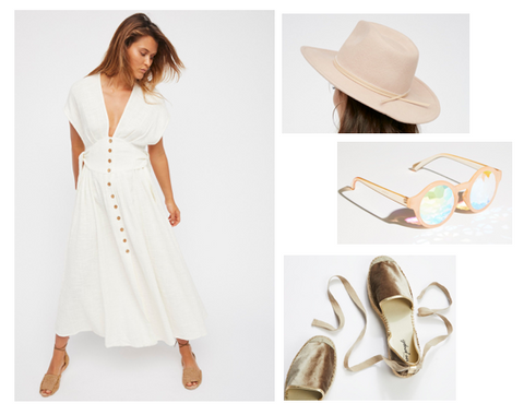 Free People Dress, Free People Hat, Free People sunglasses, Free People Lace-Up Espadrilles