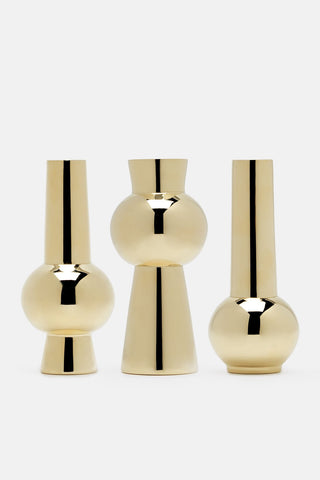The Line, Skultuna Set of 3 Vases, gold vases