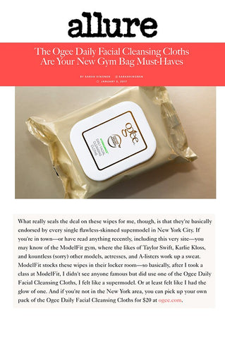 Allure: The Ogee Daily Facial Cleansing Cloths Are Your New Gym Bag Must Haves