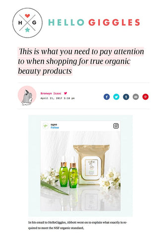 HelloGiggles: What to Pay Attention to When Shopping for True Organic Products like Ogee Organic Skincare