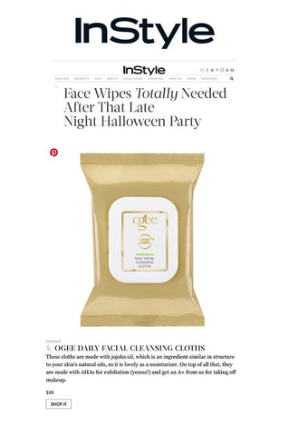InStyle: Face Wipes for That Late Night Halloween Party - Ogee Organic Cleansing Cloths