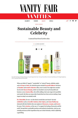 Vanity Fair: Sustainable Beauty and Celebrity - Ogee Organic Skincare