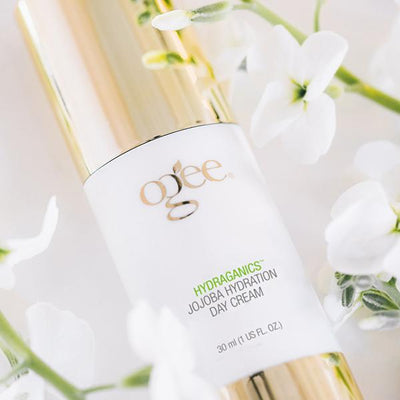 Ogee natural anti-aging jojoba day cream organic skincare moisturizer for face in flowers